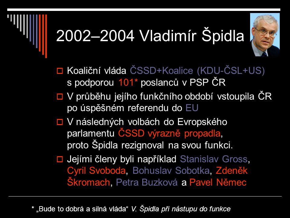 2002–2004 Vladimír Špidla Koaliční vláda ČSSD+Koalice (KDU-ČSL+US) s podporou 101* poslanců v PSP ČR.