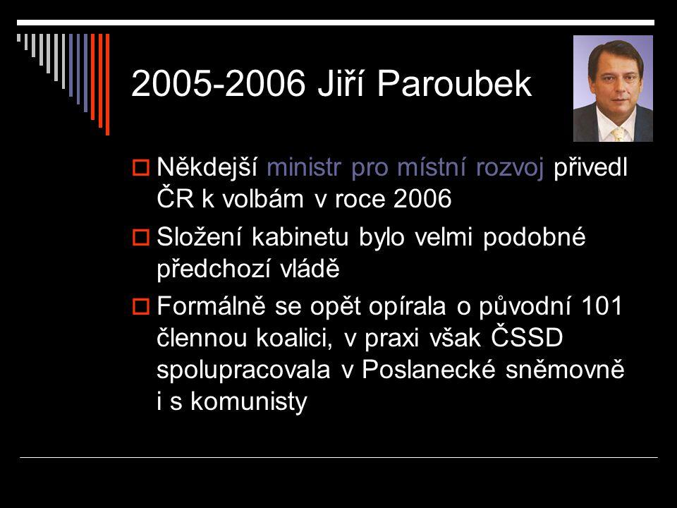 2005-2006 Jiří Paroubek Někdejší ministr pro místní rozvoj přivedl ČR k volbám v roce 2006. Složení kabinetu bylo velmi podobné předchozí vládě.
