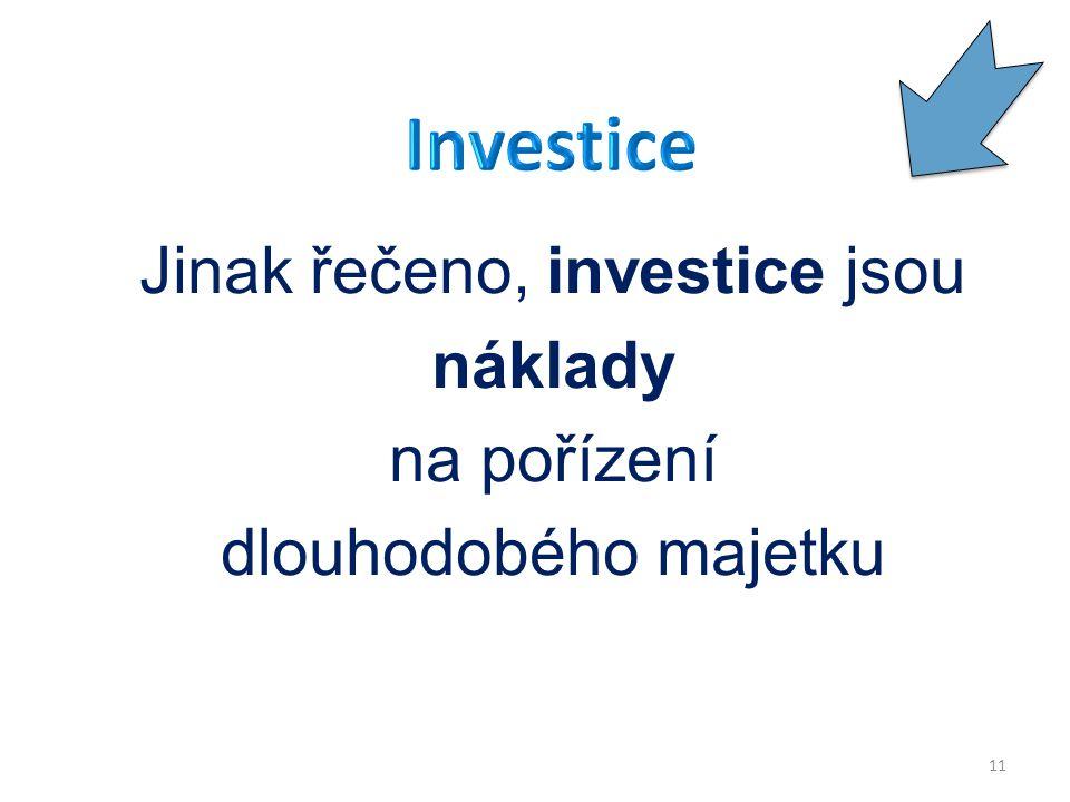 Jinak řečeno, investice jsou náklady na pořízení dlouhodobého majetku