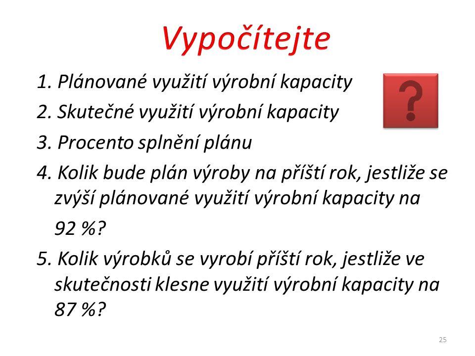 Vypočítejte 1. Plánované využití výrobní kapacity
