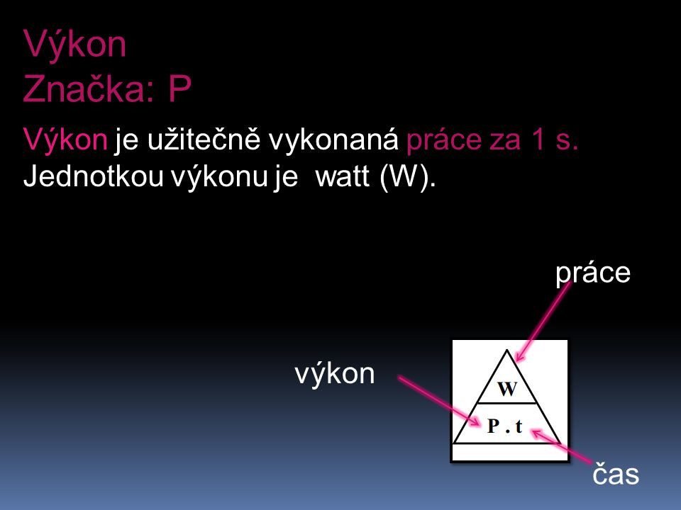 Výkon Značka: P Výkon je užitečně vykonaná práce za 1 s.