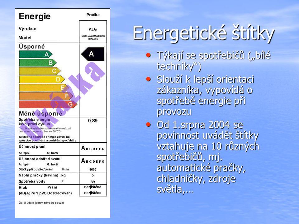 """Energetické štítky Týkají se spotřebičů (""""bílé techniky )"""