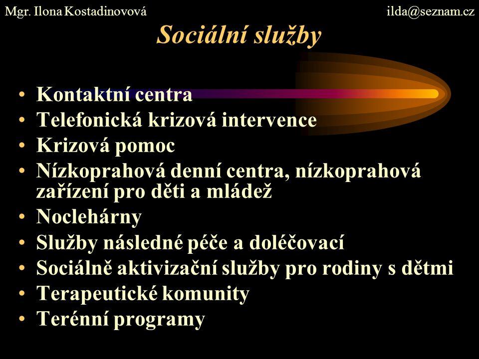 Sociální služby Kontaktní centra Telefonická krizová intervence
