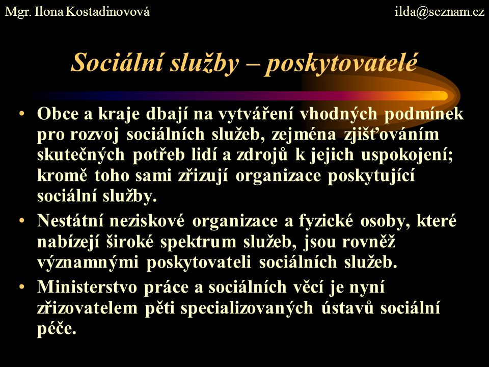 Sociální služby – poskytovatelé