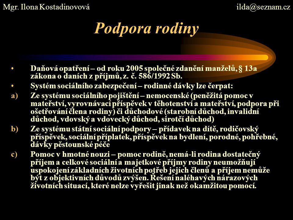Podpora rodiny Mgr. Ilona Kostadinovová ilda@seznam.cz