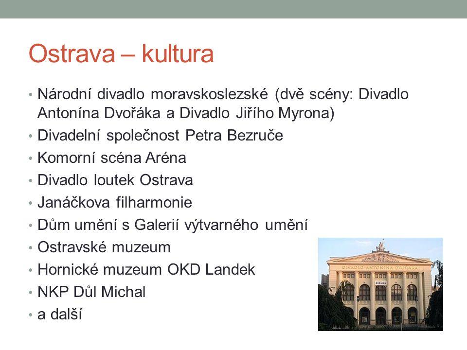Ostrava – kultura Národní divadlo moravskoslezské (dvě scény: Divadlo Antonína Dvořáka a Divadlo Jiřího Myrona)