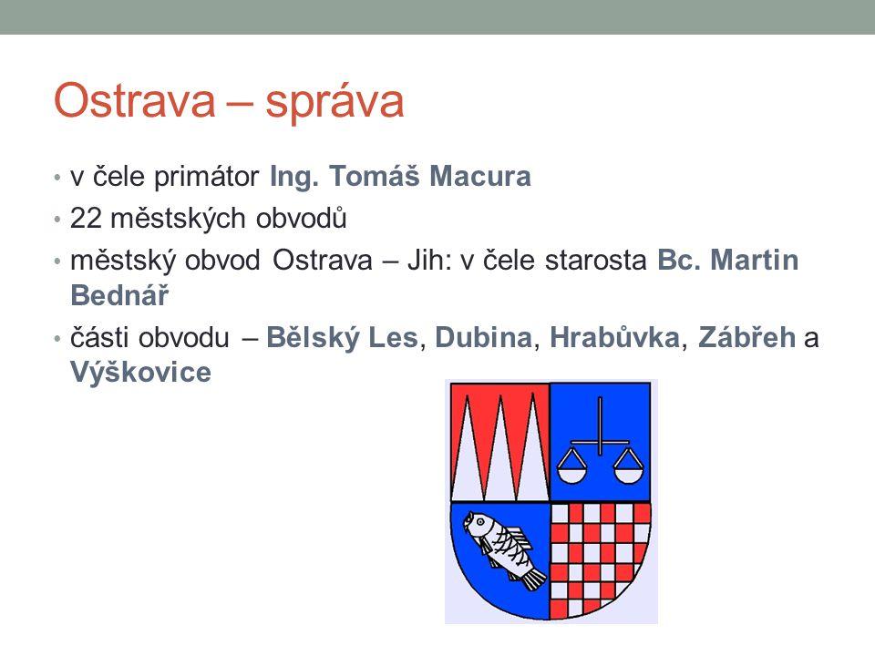 Ostrava – správa v čele primátor Ing. Tomáš Macura 22 městských obvodů