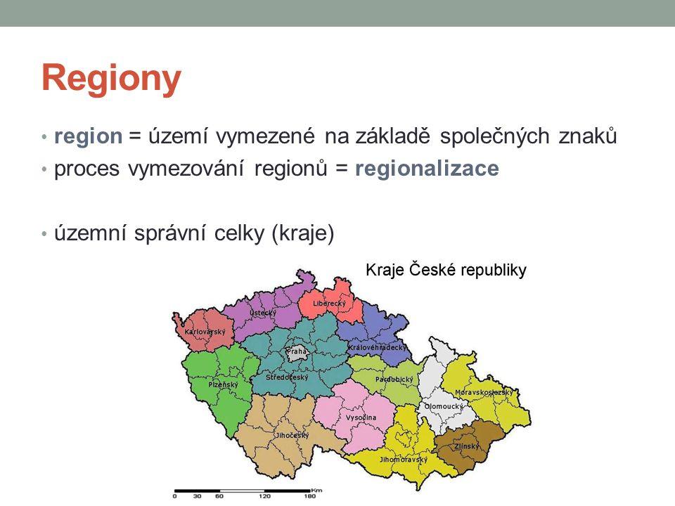 Regiony region = území vymezené na základě společných znaků