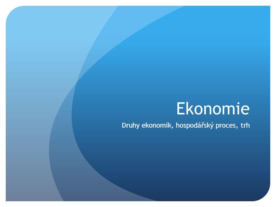 Druhy ekonomik, hospodářský proces, trh