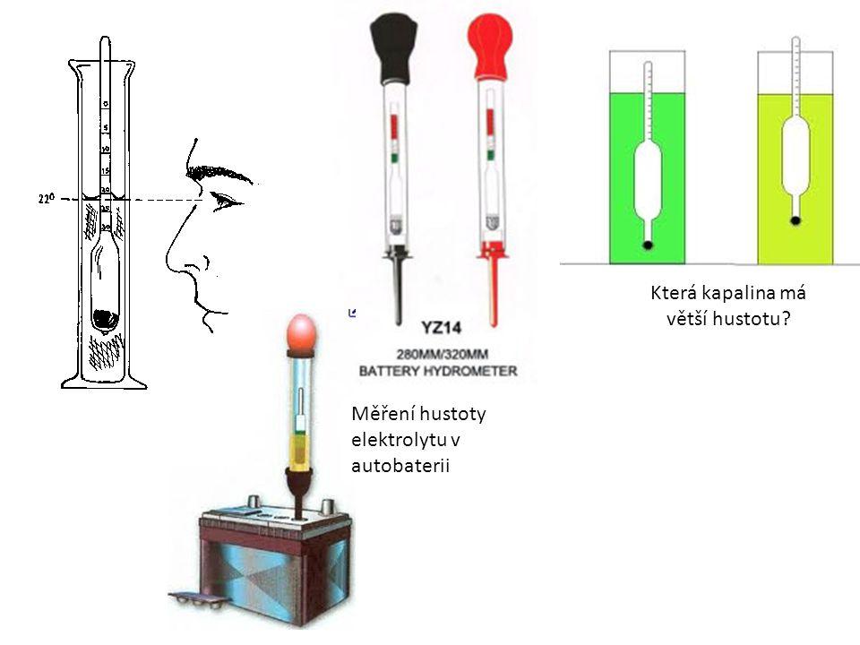 Která kapalina má větší hustotu Měření hustoty elektrolytu v autobaterii