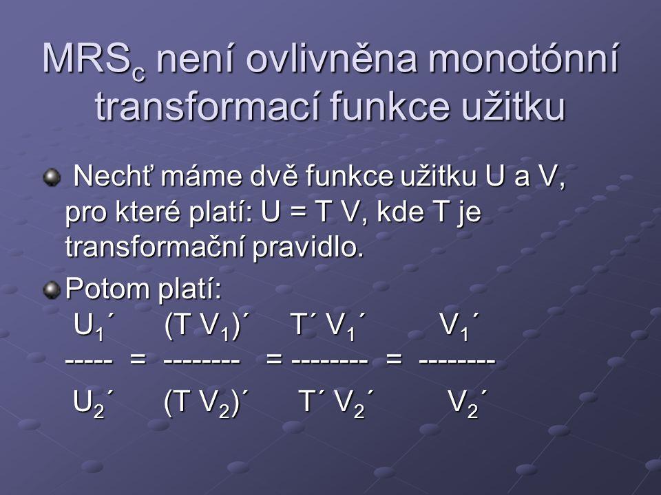 MRSc není ovlivněna monotónní transformací funkce užitku