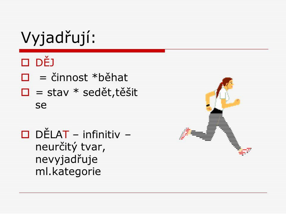 Vyjadřují: DĚJ = činnost *běhat = stav * sedět,těšit se