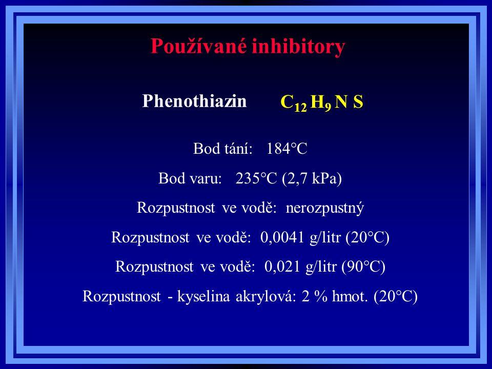 Používané inhibitory Phenothiazin C12 H9 N S Bod tání: 184°C