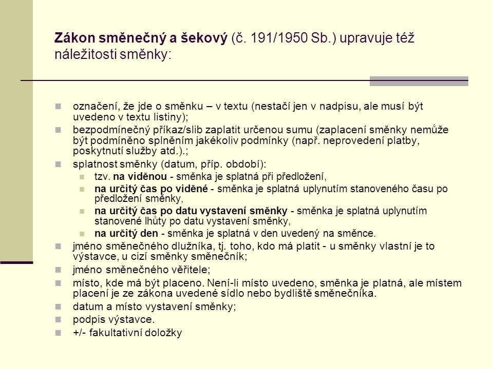 Zákon směnečný a šekový (č. 191/1950 Sb