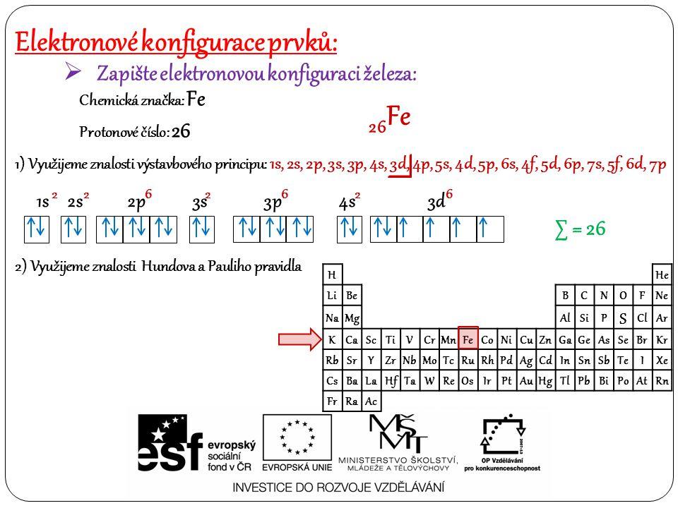 Elektronové konfigurace prvků: