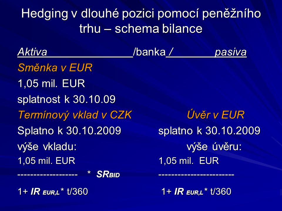 Hedging v dlouhé pozici pomocí peněžního trhu – schema bilance