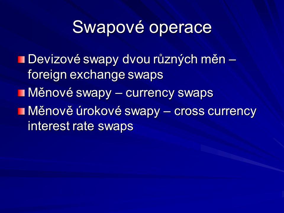 Swapové operace Devizové swapy dvou různých měn – foreign exchange swaps. Měnové swapy – currency swaps.