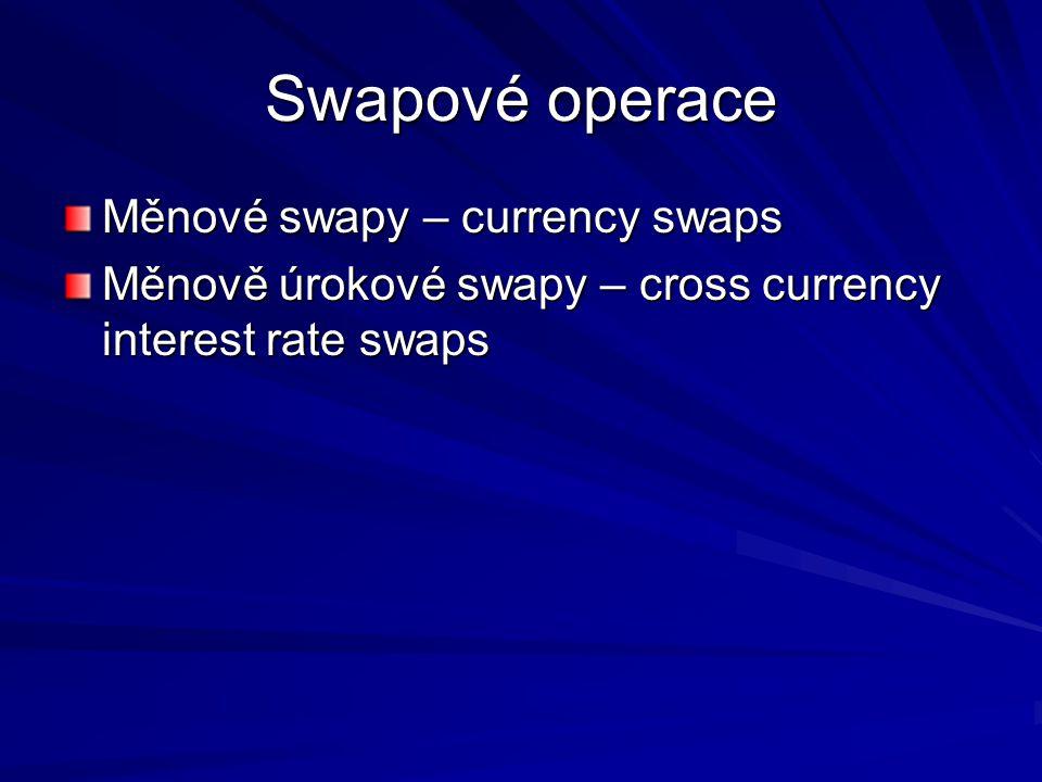 Swapové operace Měnové swapy – currency swaps