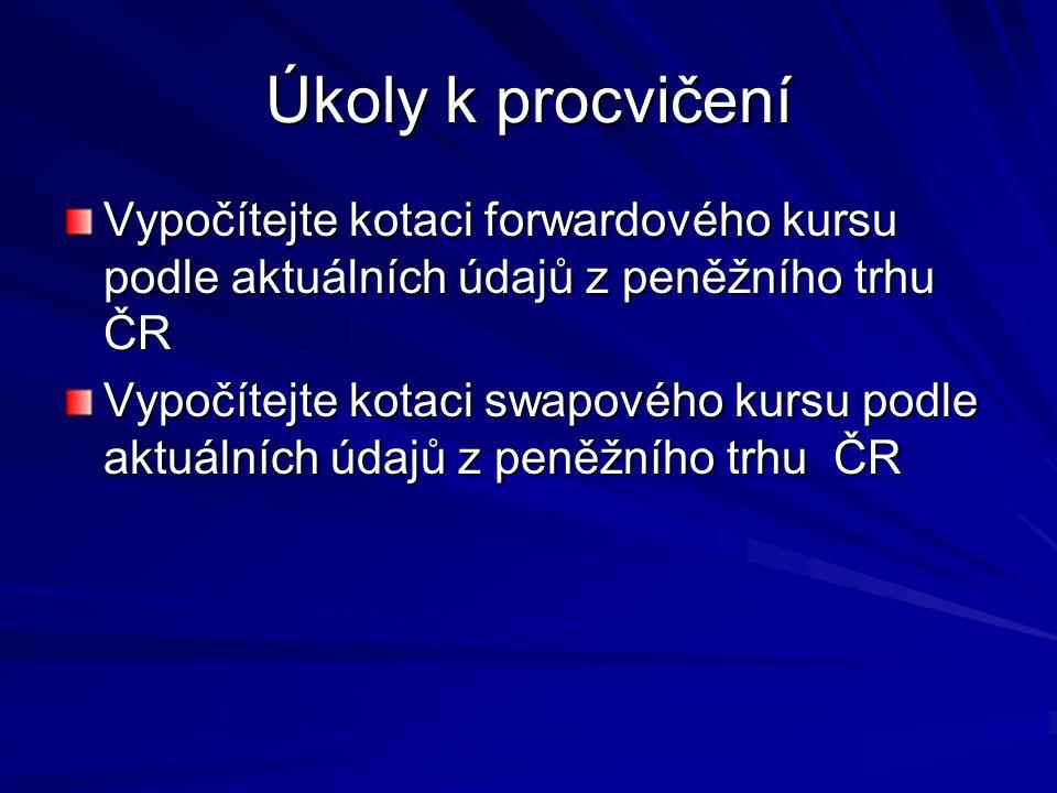 Úkoly k procvičení Vypočítejte kotaci forwardového kursu podle aktuálních údajů z peněžního trhu ČR.