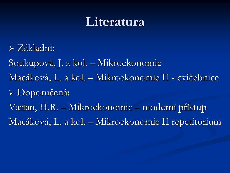 Literatura Základní: Soukupová, J. a kol. – Mikroekonomie