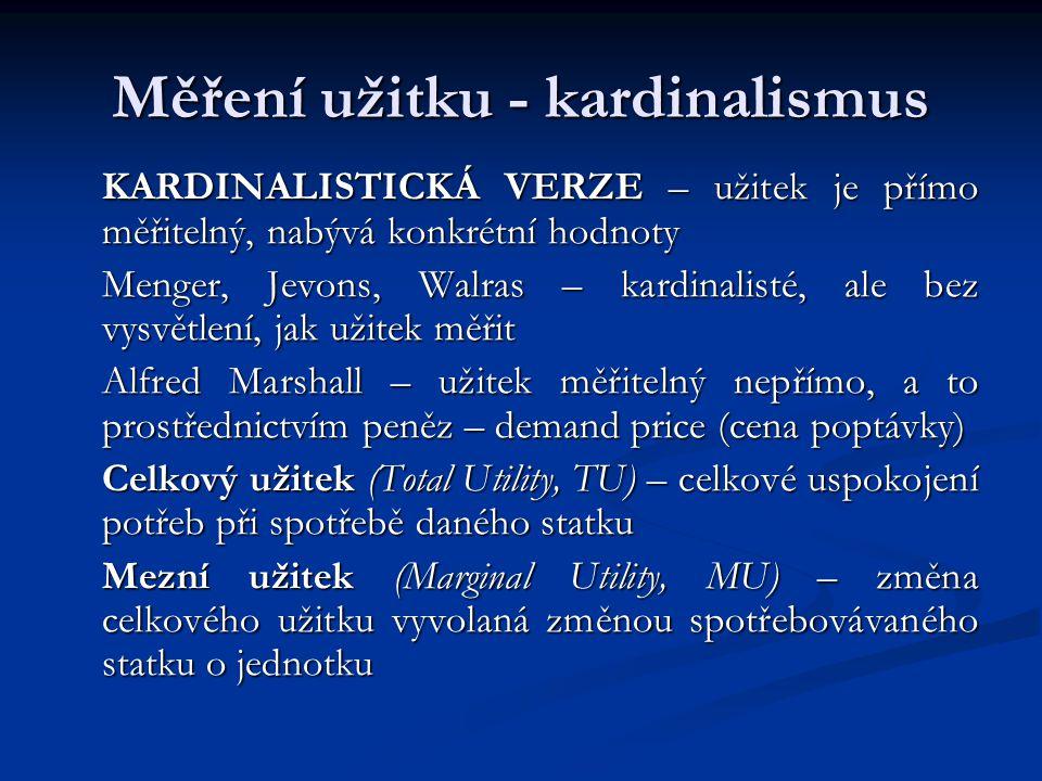 Měření užitku - kardinalismus