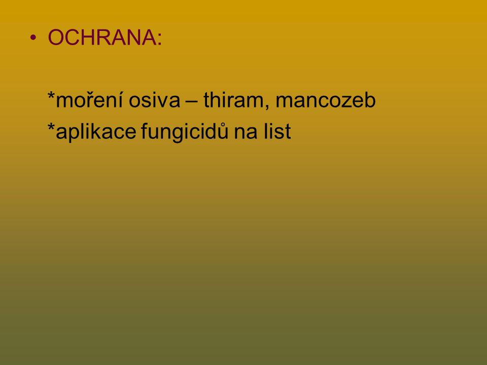 OCHRANA: *moření osiva – thiram, mancozeb *aplikace fungicidů na list