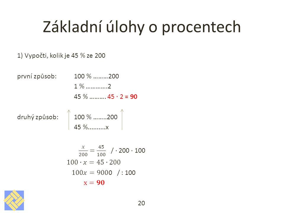 Základní úlohy o procentech