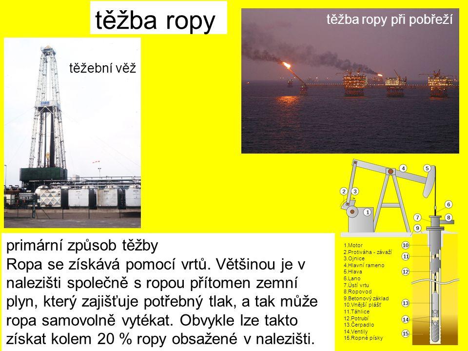 těžba ropy primární způsob těžby