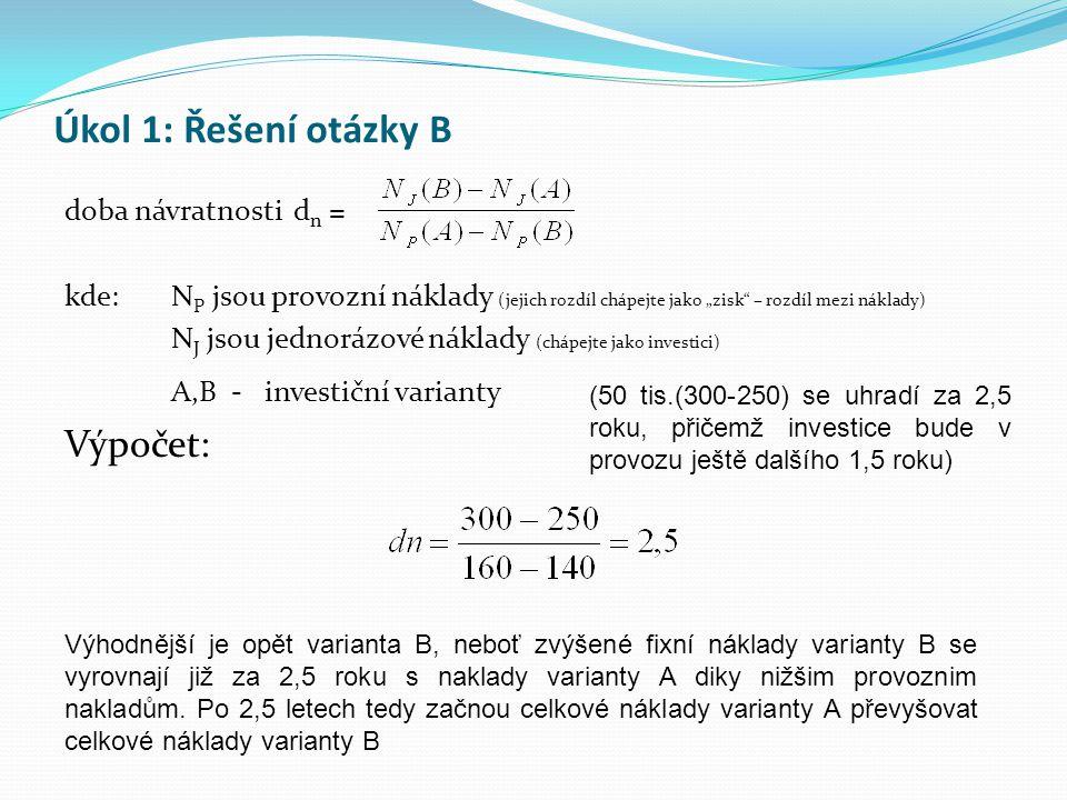 Úkol 1: Řešení otázky B Výpočet: doba návratnosti dn =