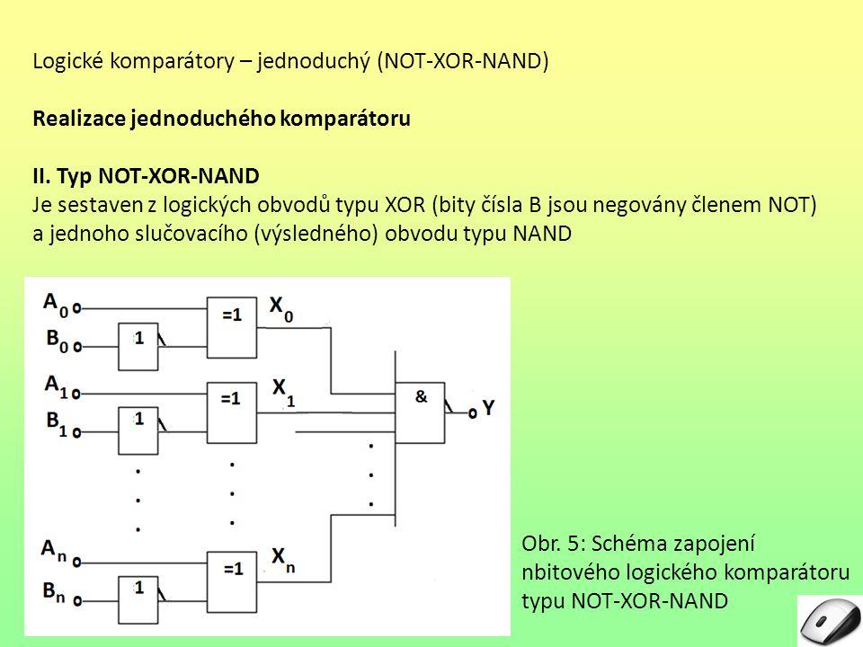 Logické komparátory – jednoduchý (NOT-XOR-NAND)