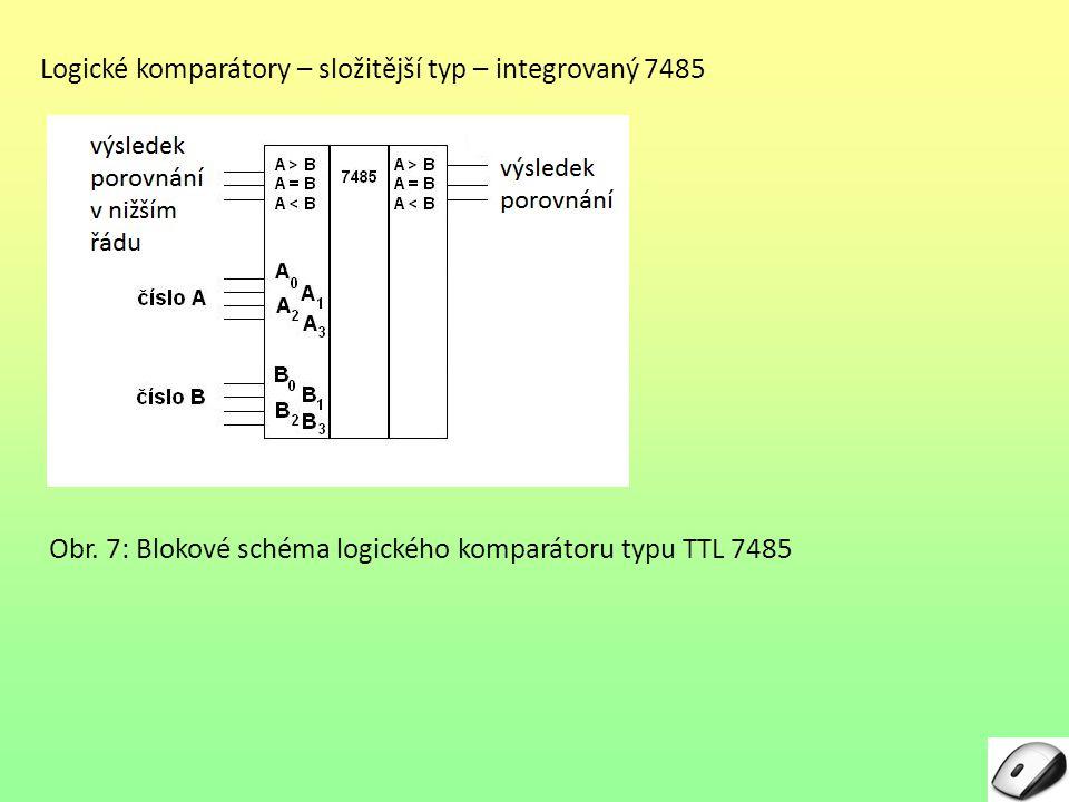 Logické komparátory – složitější typ – integrovaný 7485