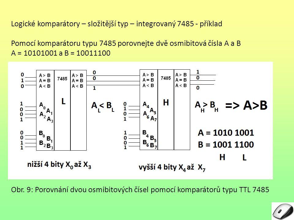Logické komparátory – složitější typ – integrovaný 7485 - příklad