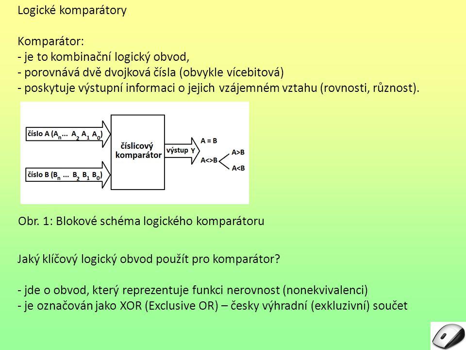 Logické komparátory Komparátor: je to kombinační logický obvod, porovnává dvě dvojková čísla (obvykle vícebitová)