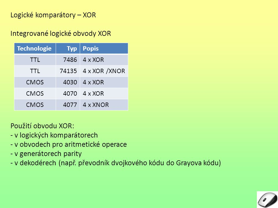 Logické komparátory – XOR Integrované logické obvody XOR