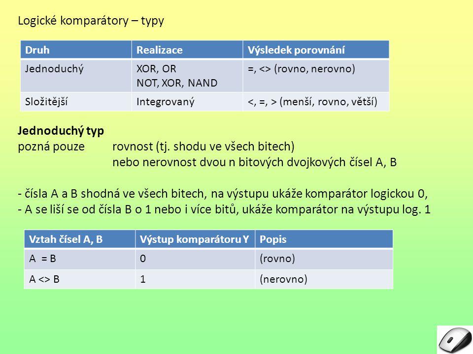 Logické komparátory – typy