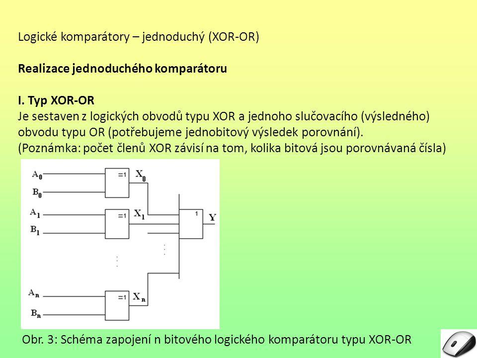 Logické komparátory – jednoduchý (XOR-OR)