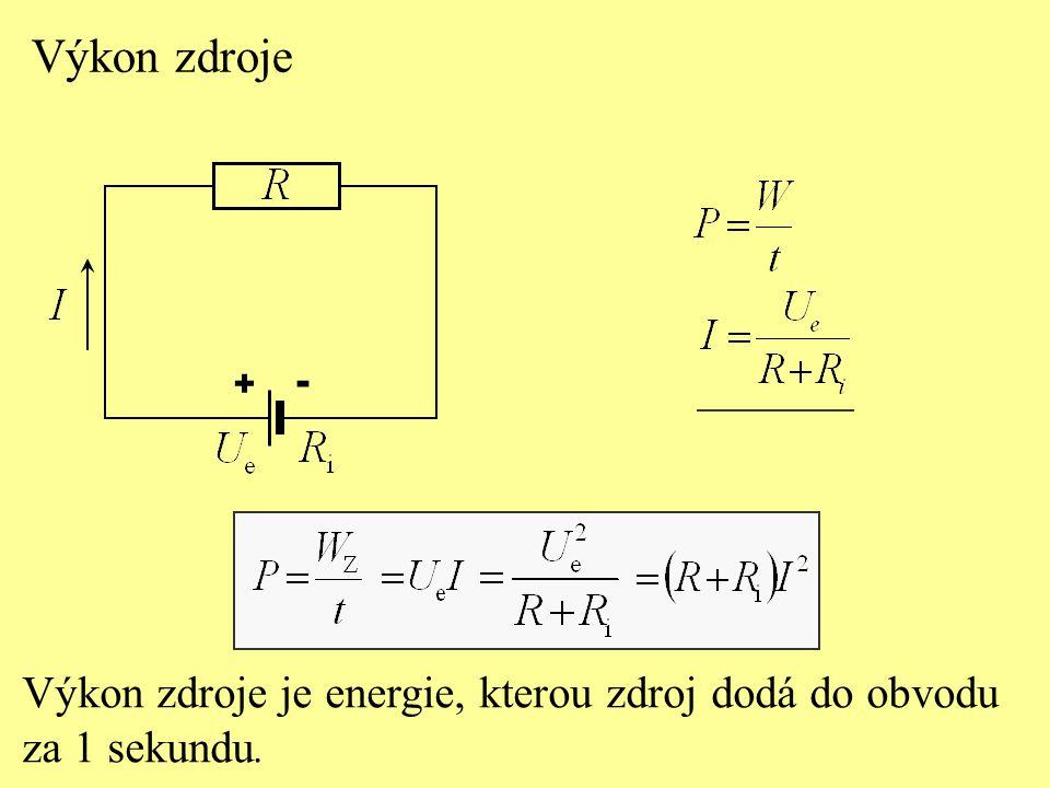Výkon zdroje Výkon zdroje je energie, kterou zdroj dodá do obvodu