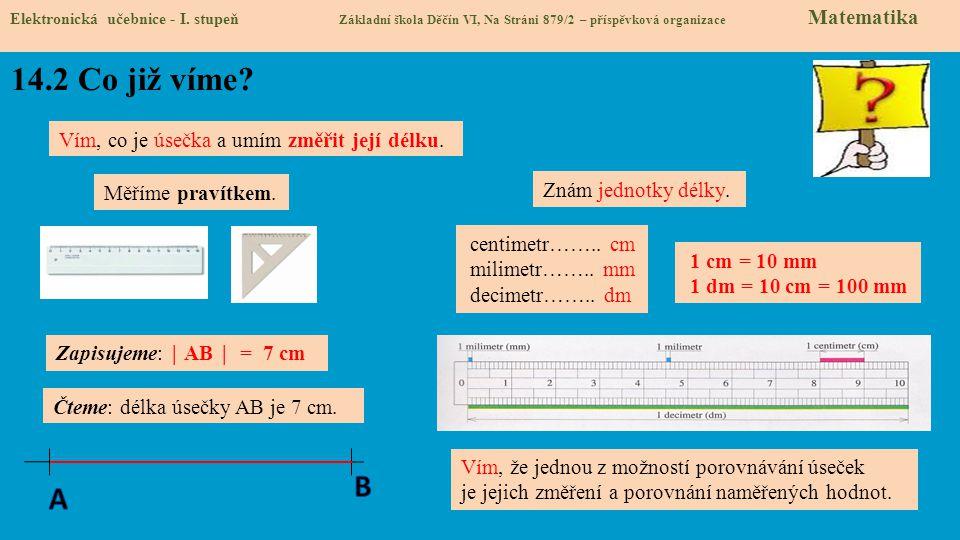 14.2 Co již víme B A Vím, co je úsečka a umím změřit její délku.