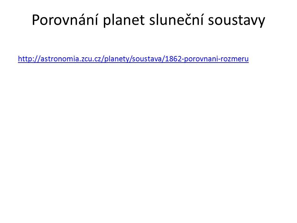 Porovnání planet sluneční soustavy