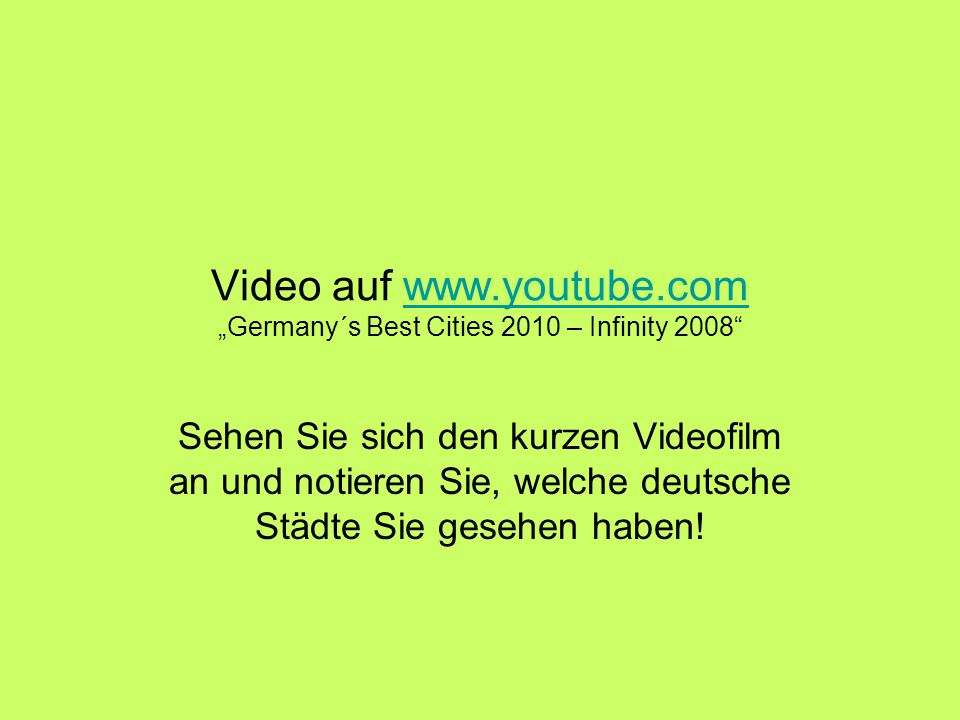 "Video auf www.youtube.com ""Germany´s Best Cities 2010 – Infinity 2008"