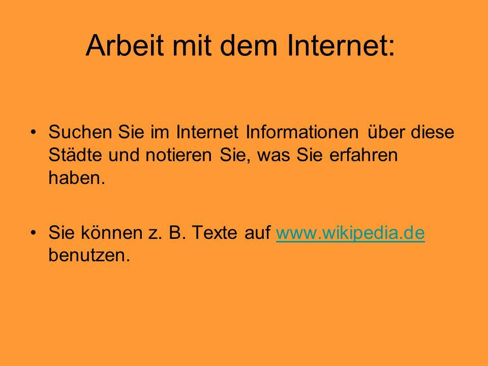 Arbeit mit dem Internet:
