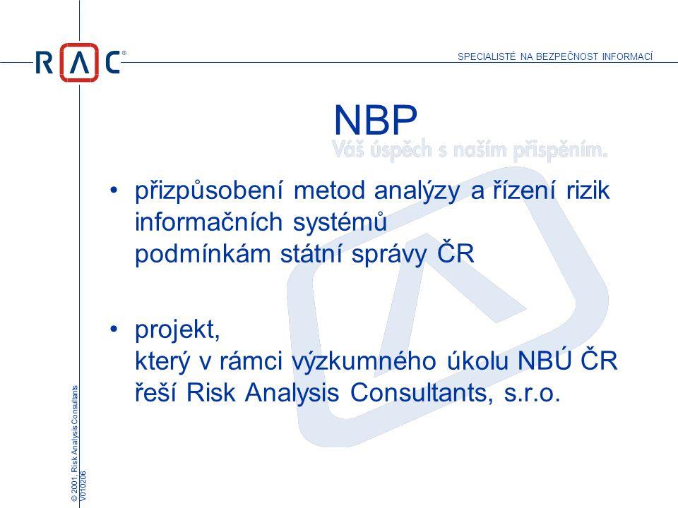 NBP přizpůsobení metod analýzy a řízení rizik informačních systémů podmínkám státní správy ČR.