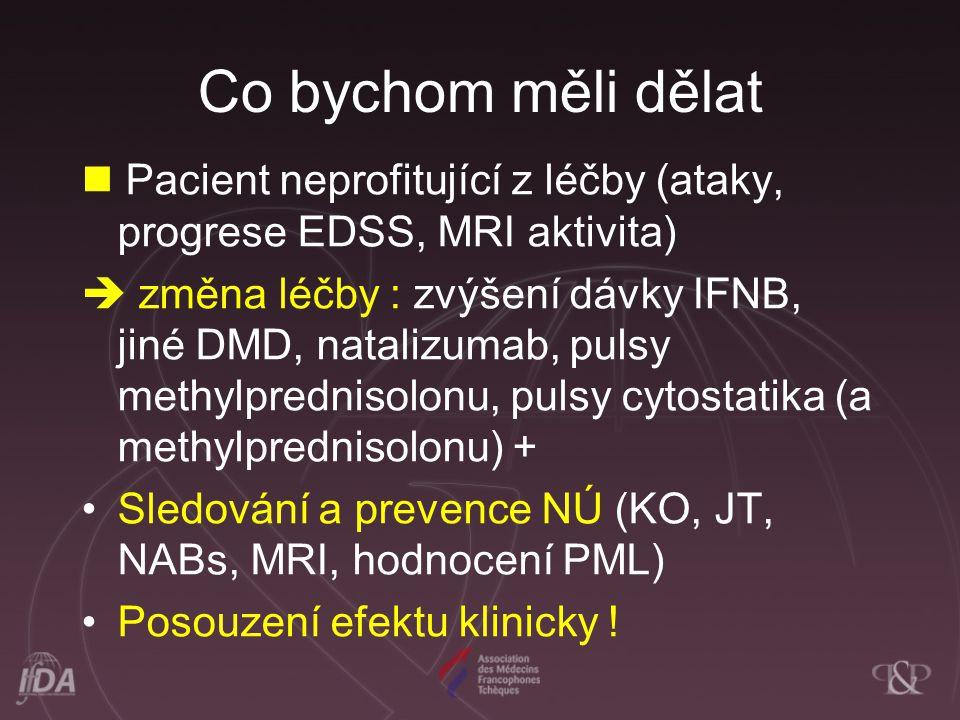 Co bychom měli dělat  Pacient neprofitující z léčby (ataky, progrese EDSS, MRI aktivita)