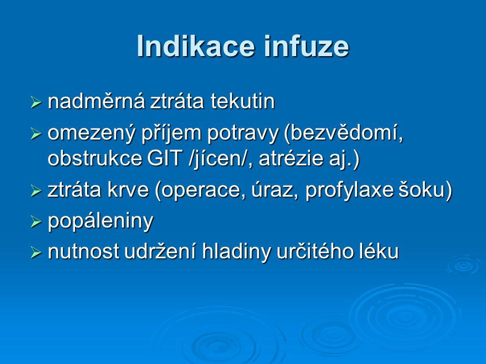 Indikace infuze nadměrná ztráta tekutin