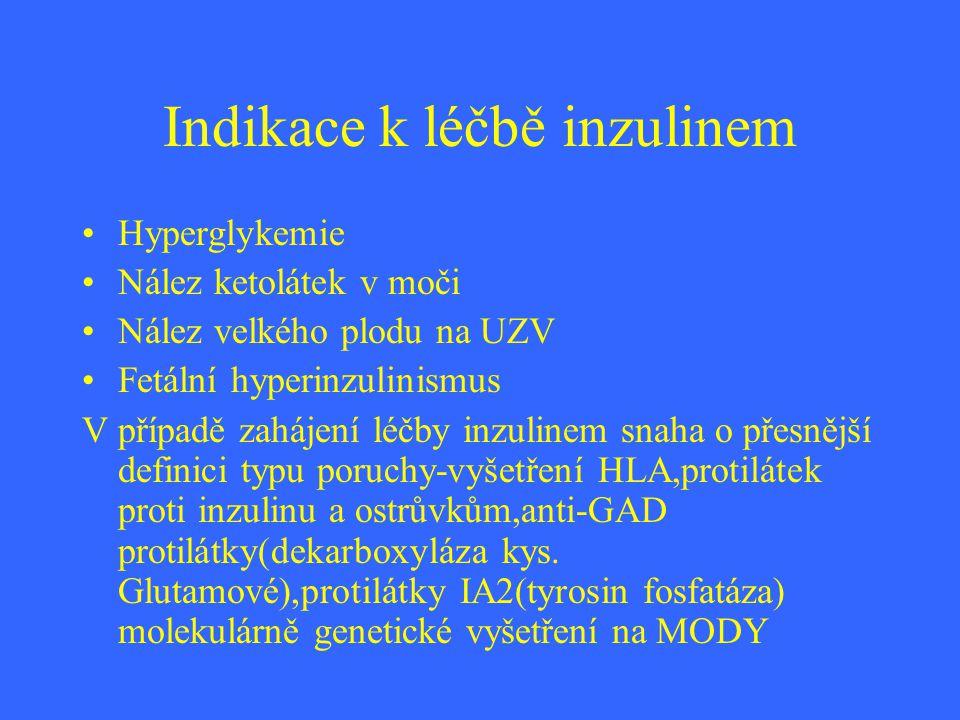 Indikace k léčbě inzulinem