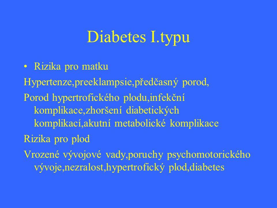Diabetes I.typu Rizika pro matku