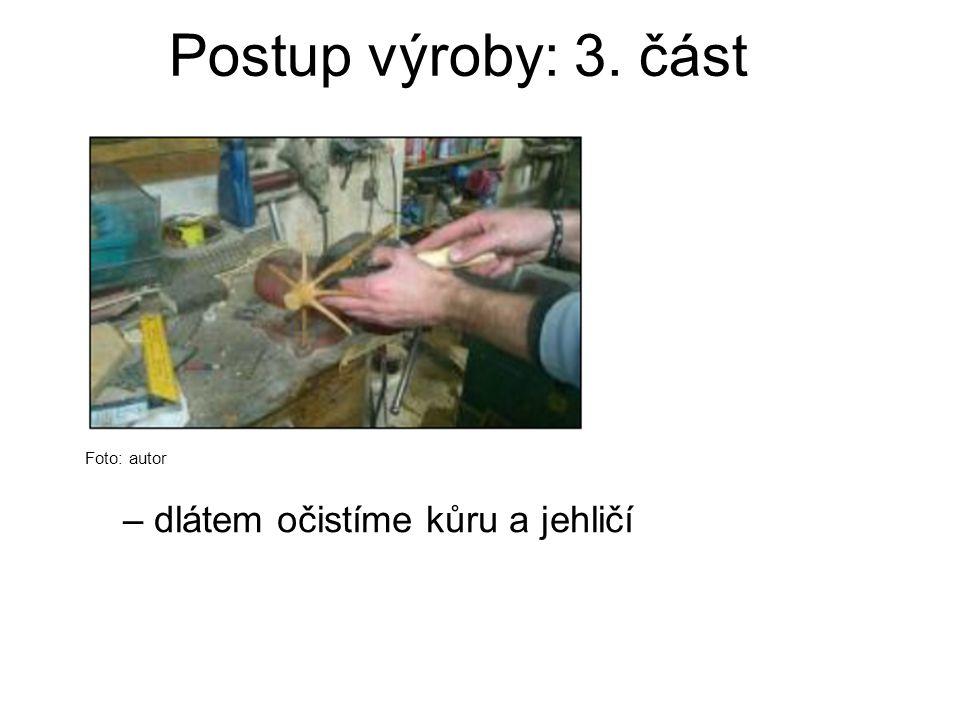 Postup výroby: 3. část Foto: autor – dlátem očistíme kůru a jehličí