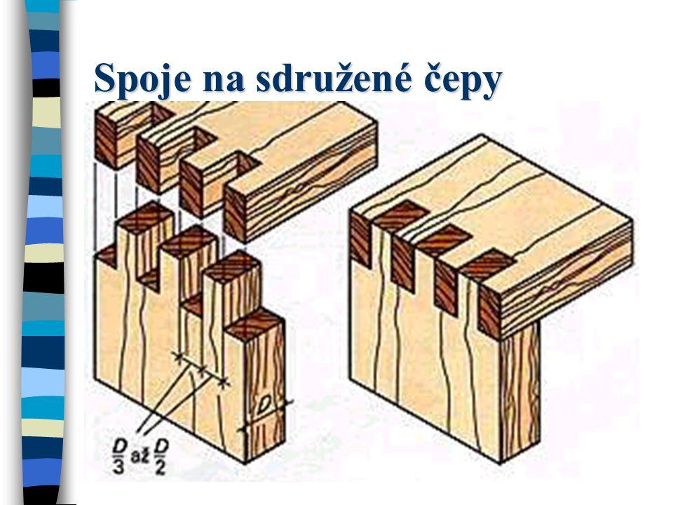Spoje na sdružené čepy U tohoto rohového spojení probíhají všechny řezy vzájemně rovnoběžně.