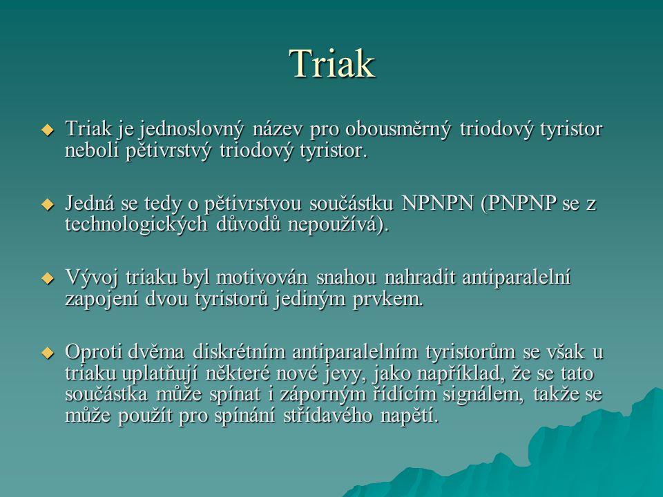 Triak Triak je jednoslovný název pro obousměrný triodový tyristor neboli pětivrstvý triodový tyristor.