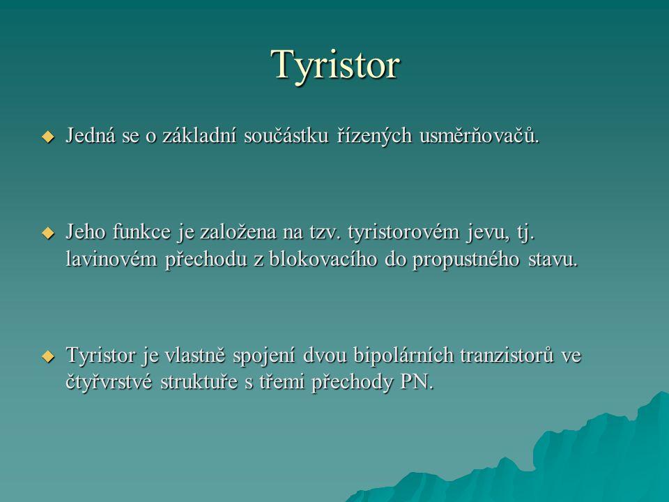 Tyristor Jedná se o základní součástku řízených usměrňovačů.